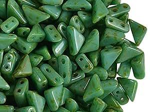 24pcs Tango Bead–Checo Presionado Perlas de Vidrio en la forma de un triángulo con lados 6x 6x 8mm, dos agujeros, Opaque Green Travertine
