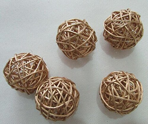 10pcs Handmade Wicker Rattan Balls, Garden, Wedding, Party Decorative Crafts, Vase Fillers, Rabbits, Parrot, Bird Toys (5CM, 12# Golden) (Hand Made Vase compare prices)