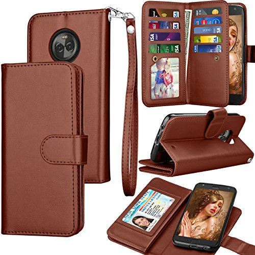Tekcoo Compatible for Moto X4 Wallet Case/Motorola Moto X 4th Gen PU Leather Case, Luxury ID Cash Credit Card Slots Holder Carrying Folio Flip Cover [Detachable Magnetic Hard Case] Kickstand – Brown For Sale