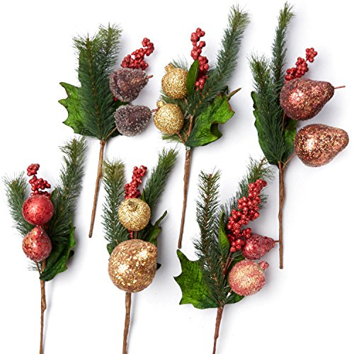 Factory Direct Craft Glittered Artificial Fruit and Pine Sprays for Indoor Decor - 6 Sprays