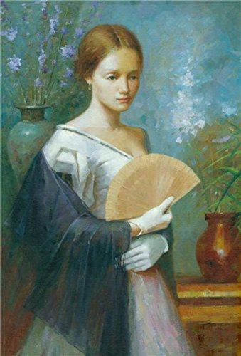 Oil Painting 'Wall Art: Portrait Of A Lady With A Fan', 18 x 27 inch / 46 x 68 cm , on High Definition HD canvas prints is for Gifts - Sunglasses Zion T