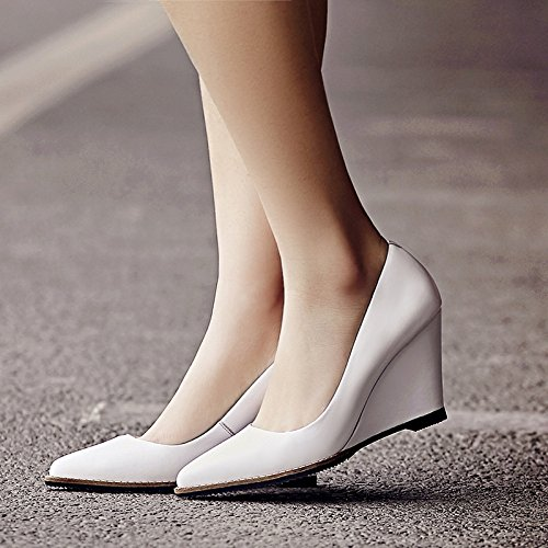 Genuine High White Women's Heels Shoes Leather MUYII Pointed Wedge R5wYqq4