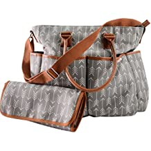 Diaper Bag For Boys & Girls With Matching Baby Changing Pad By Danha – Multi-function – Practical Shoulder & Stroller Straps – Internal & External Pockets – Striking Arrow Patterns