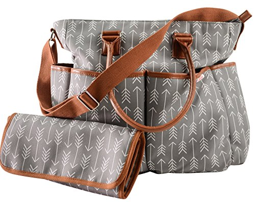 Diaper Bag For Boys & Girls With Matching Baby Changing Pad By Danha - Multi-function - Practical Shoulder & Stroller Straps - Internal & External Pockets - Striking Arrow Patterns
