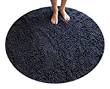 Masada Rugs, Gray Bath Mat Rug Shag Non Slip Ultra Plush Microfiber Chenille Highly Water Absorbent Durable and Washable for Bathroom. (4 Feet Round, Gray)