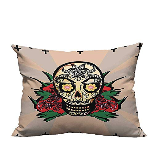 (YouXianHome Sofa Waist Cushion Cover Sugar Skull with Red Rose and Cross Spooky Halloween Horror Mystic Art Theme Decorative for Kids Adults(Double-Sided Printing) 19.5x54)
