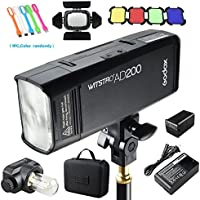 Godox AD200 200Ws 2.4G TTL Speedlite Flash Strobe 1/8000 HSS Monolight, 2900mAh Lithium Battery with BD-07 Barn Door & Honeycomb Grid and 4 Color Gel Filters