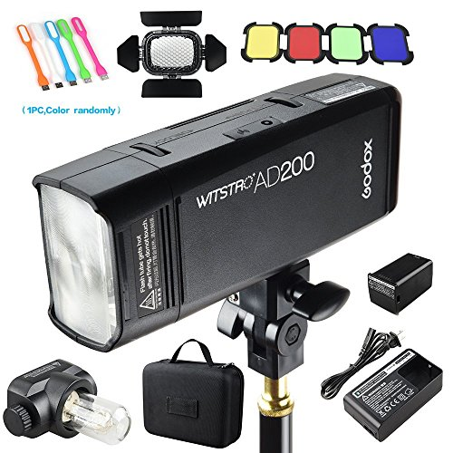 Godox AD200 200Ws 2.4G TTL Speedlite Flash Strobe 1/8000 HSS Monolight, 2900mAh Lithium Battery with BD-07 Barn Door & Honeycomb Grid and 4 Color Gel Filters by SUPON