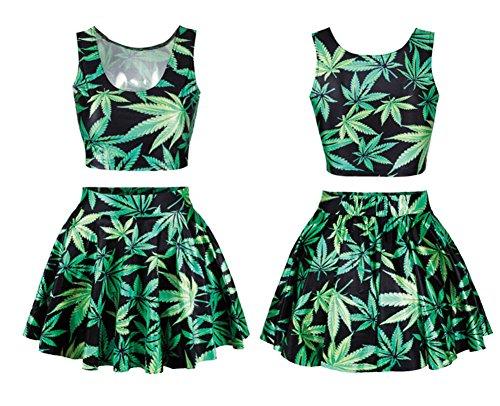 Benibos Womens Digital Print Reversible Crop Top + Skirt 2 Pieces Vintage Clubwear (Green) ()