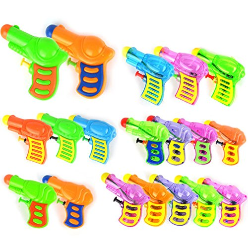 12 Assorted Water Squirt Guns - 4 inch - Transparent Neon Bulk Water Guns with Classic Design and Durable Materials