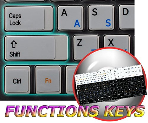 (FUNCTION KEYS FOR LAPTOP NON-TRANSPARENT KEYBOARD LABELS WHITE BACKGROUND 14X14)