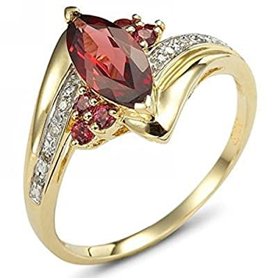 Huanhuan Marquise Cut Ruby Garnet CZ Yellow Gold Filled Wedding Rings for Women Size 6 to 10