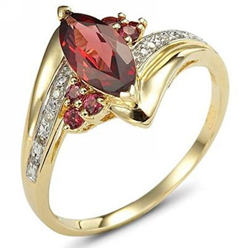 Huanhuan Yellow Gold Plated Marquise Cut Meticulous CZ Wedding Engagement Promise Band Ring Fashion Red Garnet Womens Girls Eternity Ring Size 6 to 10
