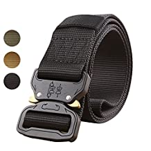 Musgneer Men's Tactical Cobra Belt Heavy Duty Military Style Nylon Belts Riggers Webbing with Metal Cobra Buckle 1.5""