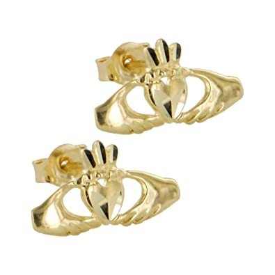claddagh earrings two tone stud diamond product earring moriartys gold