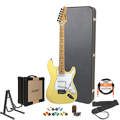Sawtooth Citron Vanilla Cream Electric Guitar w/ White Pickguard - Includes: Accessories, Sawtooth 25W Amp , Hard Case & Online Lesson