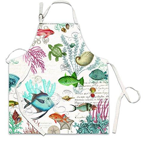 Beach Apron (Michel Design Works Cotton Chef Apron, Sea Life)