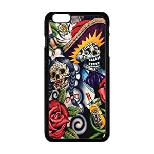 Personalized Snap-on Protective Hardshell Slim Cover Case for iPhone 6 Plus (5.5 inch) [Mexican Skull Day of the Dead]