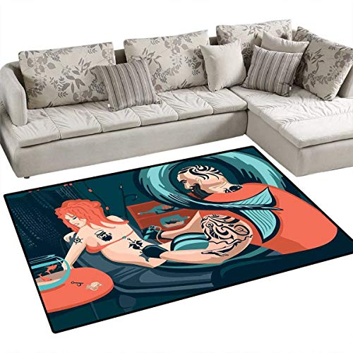 Mermaid Decor Customize Door mats for Home Mat Tattoo Master Sailor Draws on The Body of a Mermaid Workshop Tattooist Door Mat Outside 40