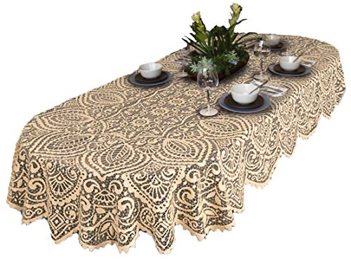 (Lace Large Tablecloth Fabric Overlay Jacquard Elegant Modern Washable Easy Care Table Cover Washable 100% Polyester Oval White OR Beige Premium Quality Easy Care (140cm x 240cm (55