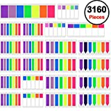SIQUK 3160 Pieces Colored Page Markers Sticky Index Tabs Neon Note Tabs Polka Dots and Stripes Page Flag Tabs Fluorescent Sticky Note, 22 Sets