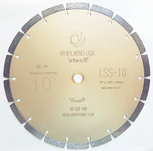 "Whirlwind USA LSS 10-Inch Dry or Wet Cutting General Purpose Power Saw Segmented Diamond Blades for Concrete Stone Brick Masonry (Factory Direct Sale) (10"")"