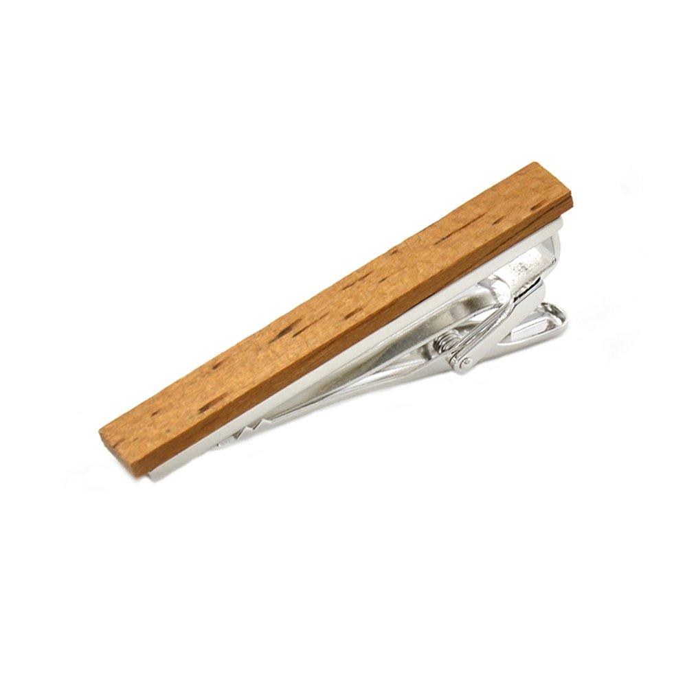 Merit Ocean Smart Men's Zebra Wood Tie Clip Natural Tie Bar 2.1 Inch in Gift Box