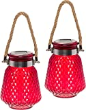 GreenLighting 2 Pack Solar Powered Mason Jar Light - Decorative LED Glass Table Light by (Red)