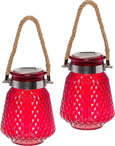 GreenLighting 2 Pack Solar Powered Mason Jar Light - Decorative LED Glass Table Light (Red)