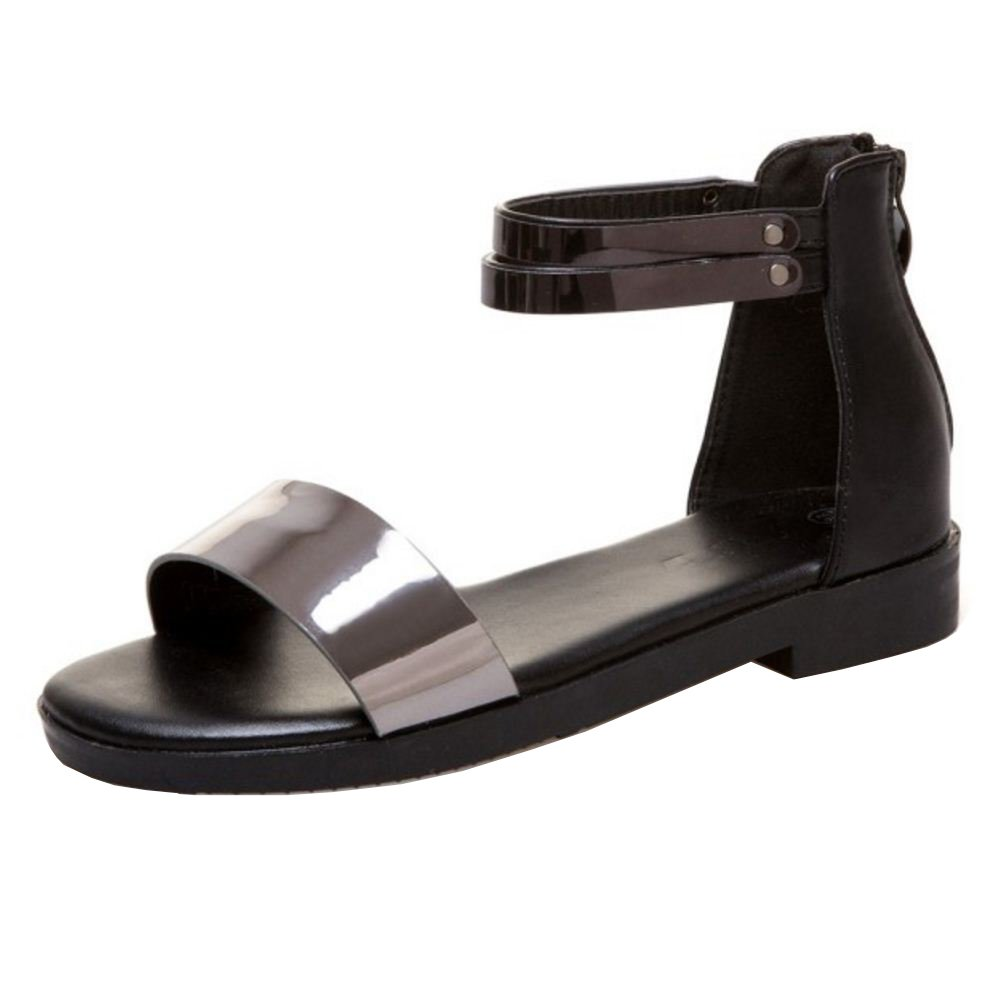 TAOFFEN Damen Flach Sandalen Sommer Schuhe  38 EU|Black
