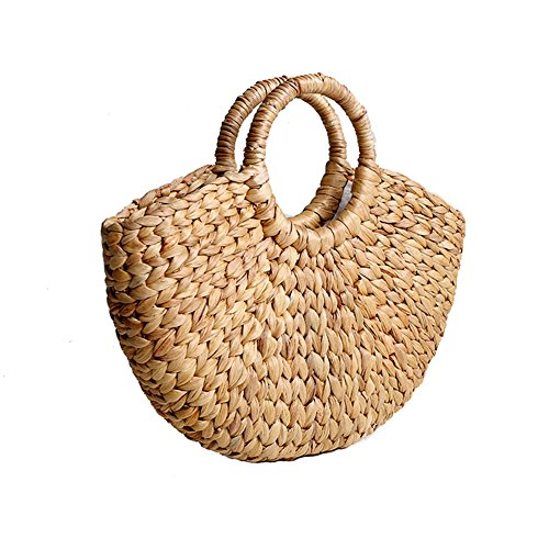 Bulary Grass Braided Handbag with Ring Handle Hand Woven Summer Beach Tote Bag Retro Natural Chic Straw Purse Basket