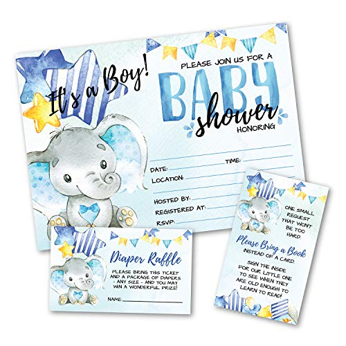 Deluxe Blue Elephant Baby Shower Invitations, Jungle, Tropical Safari Animals, Its A Boy Party Invites, Includes- 20 Each Large Double Sided 5 x 7 Invites, Raffle Tickets, and Book Request Inserts]()