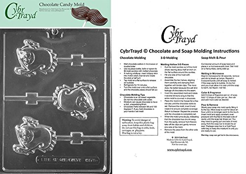 Cybrtrayd Life of the Party H173 Smiley Ghost Lolly Chocolate Candy Mold in Sealed Protective Poly Bag Imprinted with Copyrighted Cybrtrayd Molding Instructions