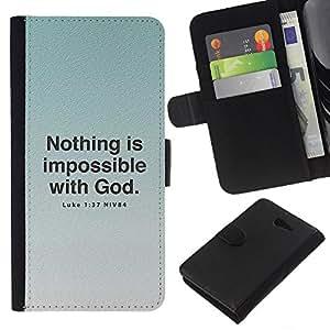 EJOY---La carpeta del tirón la caja de cuero de alta calidad de la PU Caso protector / Sony Xperia M2 / --BIBLIA Lucas 1 37 Nada es imposible sin Dios