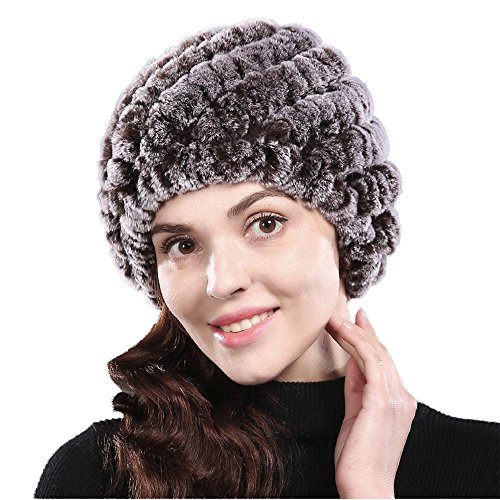 Bafei Real Genuine Rex Rabbit Fur Knitted Winter Hat Caps for Women (coffee)