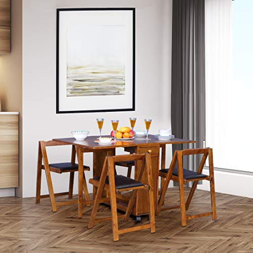 HomeTown Compact Solid Wood Four Seater Dining Set in Walnut Colour