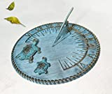 Brass Decorative Sundial 10'' Inches Wide - With 2 Turtles
