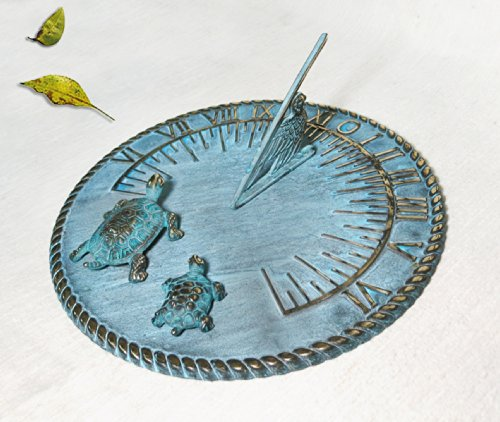 Brass Decorative Sundial 10'' Inches Wide - With 2 Turtles by Taiwan