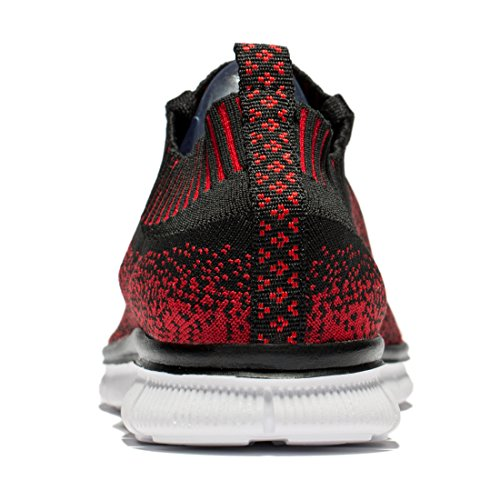 Tianyuqi Herren Wanderschuhe leichte atmungsaktive Lace-Up Fashion Sneakers rot