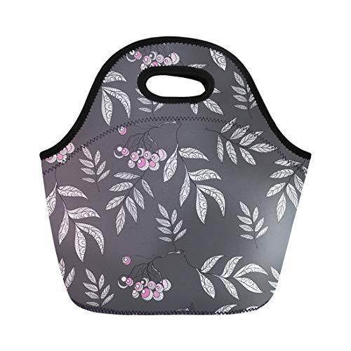 Semtomn Lunch Bags Beautiful Autumn Abstract Pattern Rowan Silhouette Batik Berry Branch Neoprene Lunch Bag Lunchbox Tote Bag Portable Picnic Bag Cooler Bag