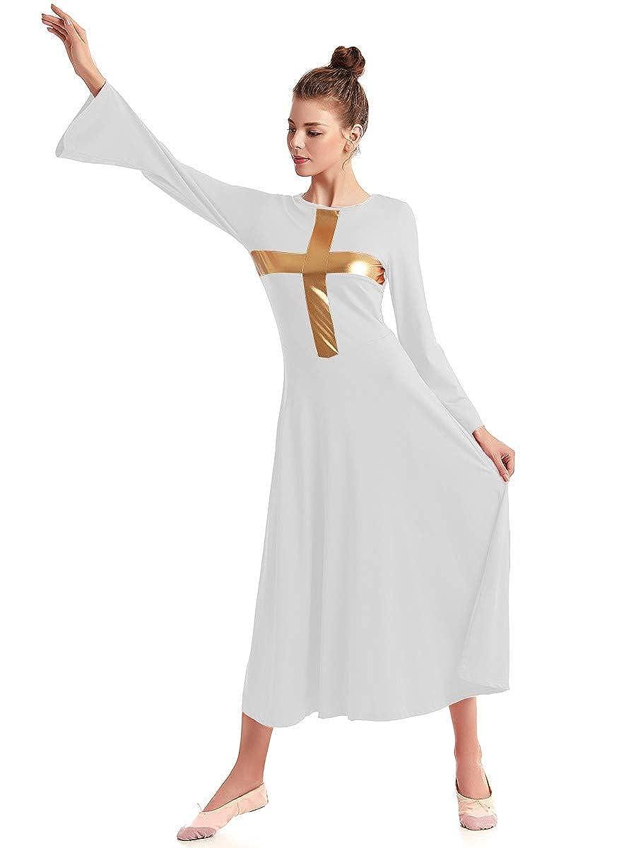FMYFWY Women Cross Robe Bell Sleeve Praise Dress Liturgical Worship Costume Celebration of Spirit Wide Swing Dancewear