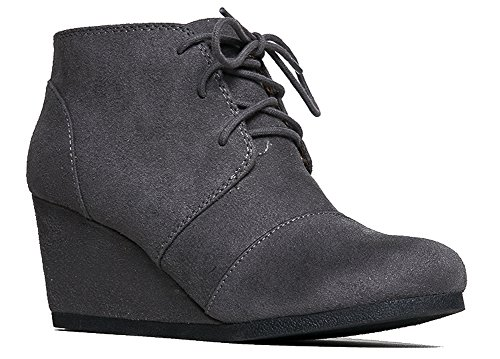 J. Adams Roxy Wedge Booties - Casual Lace Up Low Heel Closed Toe Ankle Boot