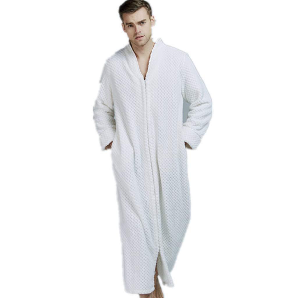 WINJUD Mens Womens Robes Couples Warm Fleece Long Sleepwear with Zip Pocket Pajamas Bathrobes by WINJUD