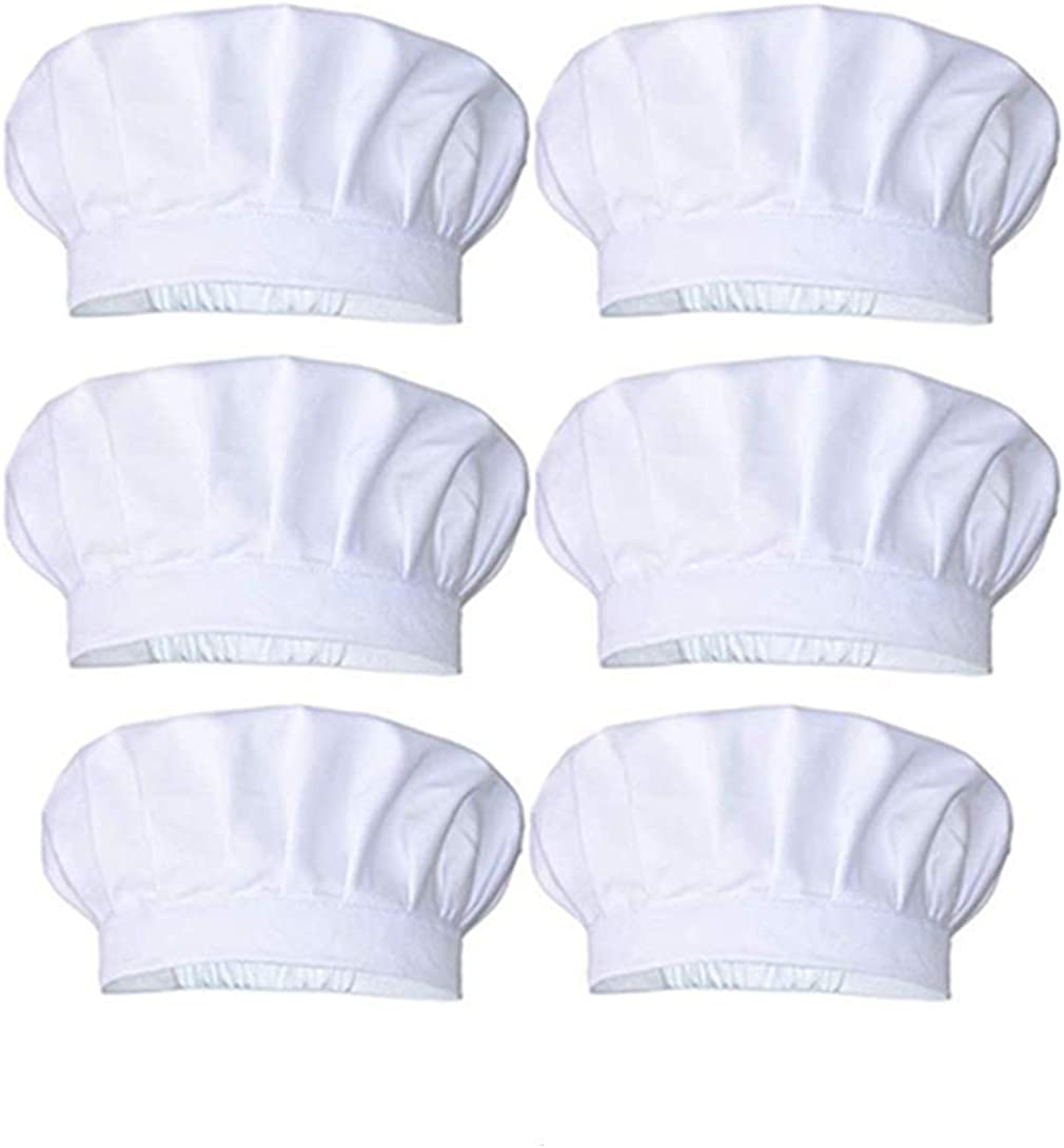 a person who loves life 6pieces Chef Hat, Adult Adjustable Elastic Baker Kitchen Cooking Chef Cap, White