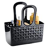 InterDesign Orbz Plastic Bathroom Tote Small Divided College Dorm Shower Caddy for Shampoo, Conditioner, Soap, Cosmetics, Beauty Products, Set of 1, Black