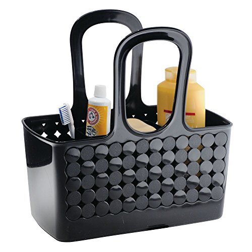 (InterDesign Orbz Plastic Bathroom Tote Small Divided College Dorm Shower Caddy for Shampoo, Conditioner, Soap, Cosmetics, Beauty Products, Set of 1, Black)