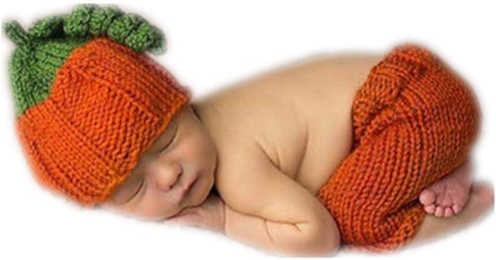 Halloween costume Crochet Newborn baby pumpkin outfit,pumpkin hat photo prop
