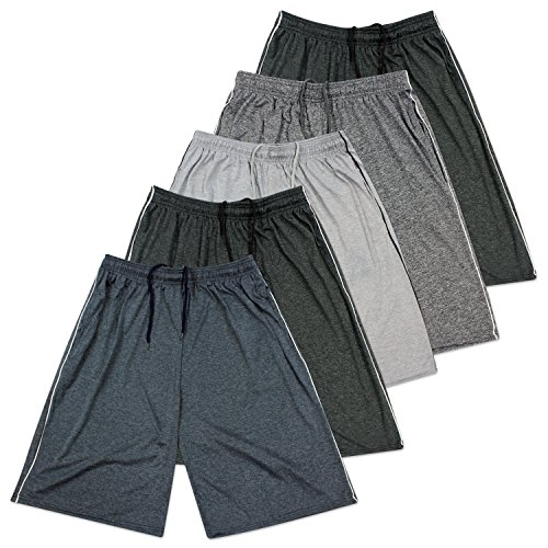 Mens Dry FitDri Fit Active Athletic Performance Training Shorts   Set 3 5 Pack Large