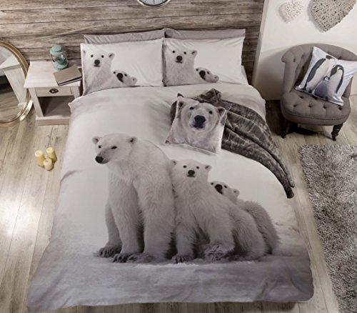 ARCTIC BEAR BLACK WHITE TWIN COTTON BLEND DUVET COMFORTER COVER SET #RAEBRALOP *RH* (Rh Duvet Cover)