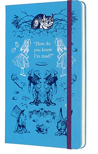 Moleskine Limited Edition Alice In Wonderland 18 Month 2019-2020 Weekly Planner, Hard Cover, Large (5 x 8.25) Blue